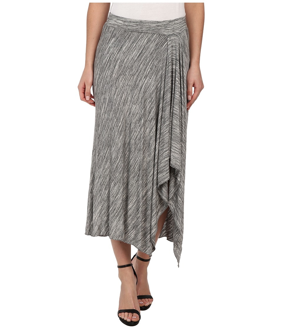 Mod-o-doc Space Dyed Asymmetrical Hi-Low Hem Skirt (Charcoal Heather) Women