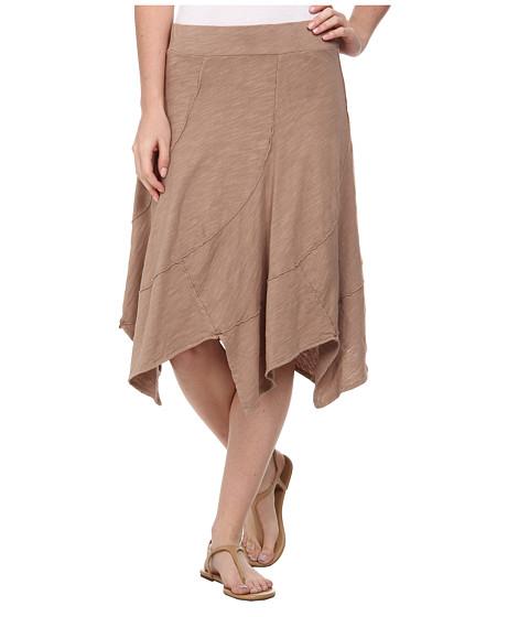 Mod-o-doc - Swirl Seam Hanky Hem Skirt (Flax) Women
