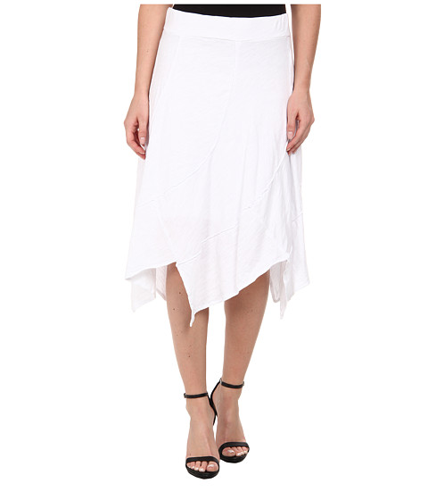 Mod-o-doc - Swirl Seam Hanky Hem Skirt (White) Women's Skirt