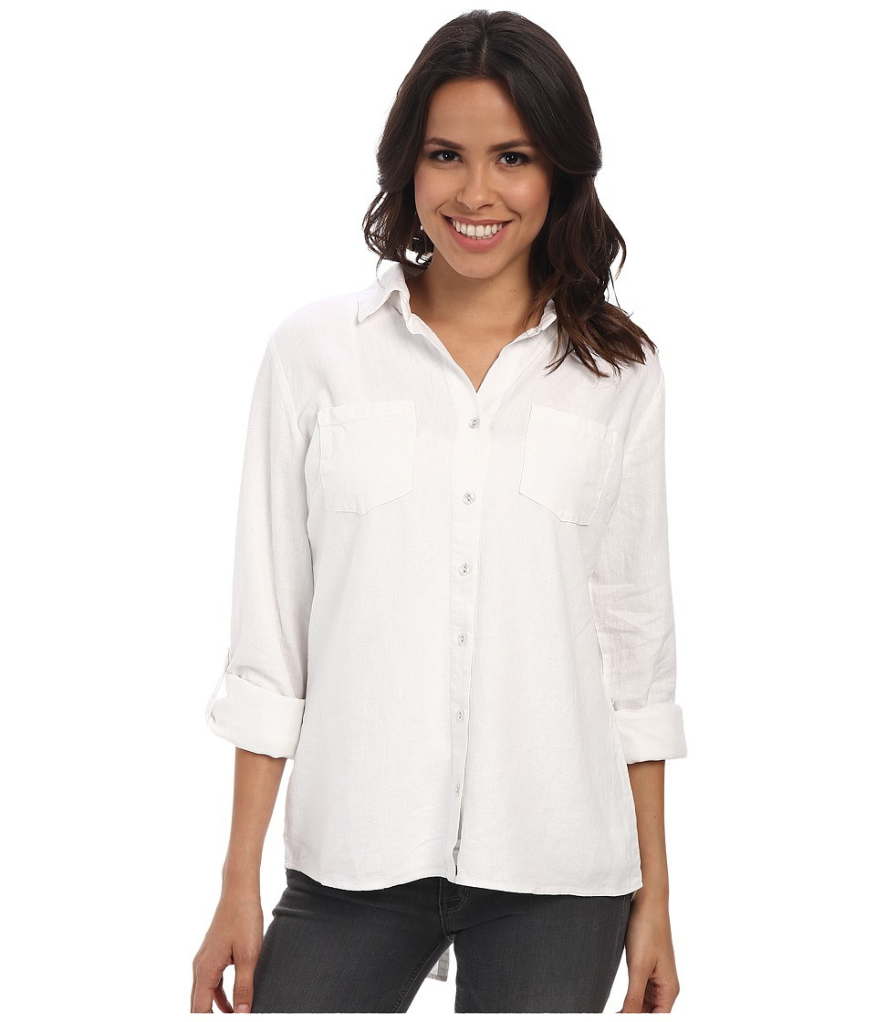 Mod-o-doc - Easy Button Front Shirt (White) Women's Clothing