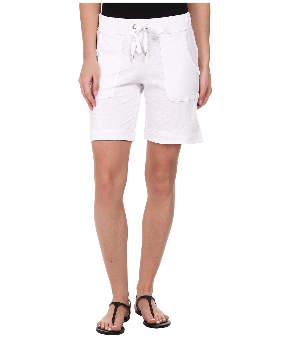 Mod-o-doc - Heavier Slub Jersey Pull-On Cuffed Short (White) Women's Shorts