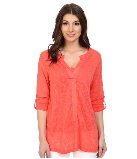 Miraclebody Jeans - Penny Placket Top w/ Body-Shaping Inner Shell (Coral) Women