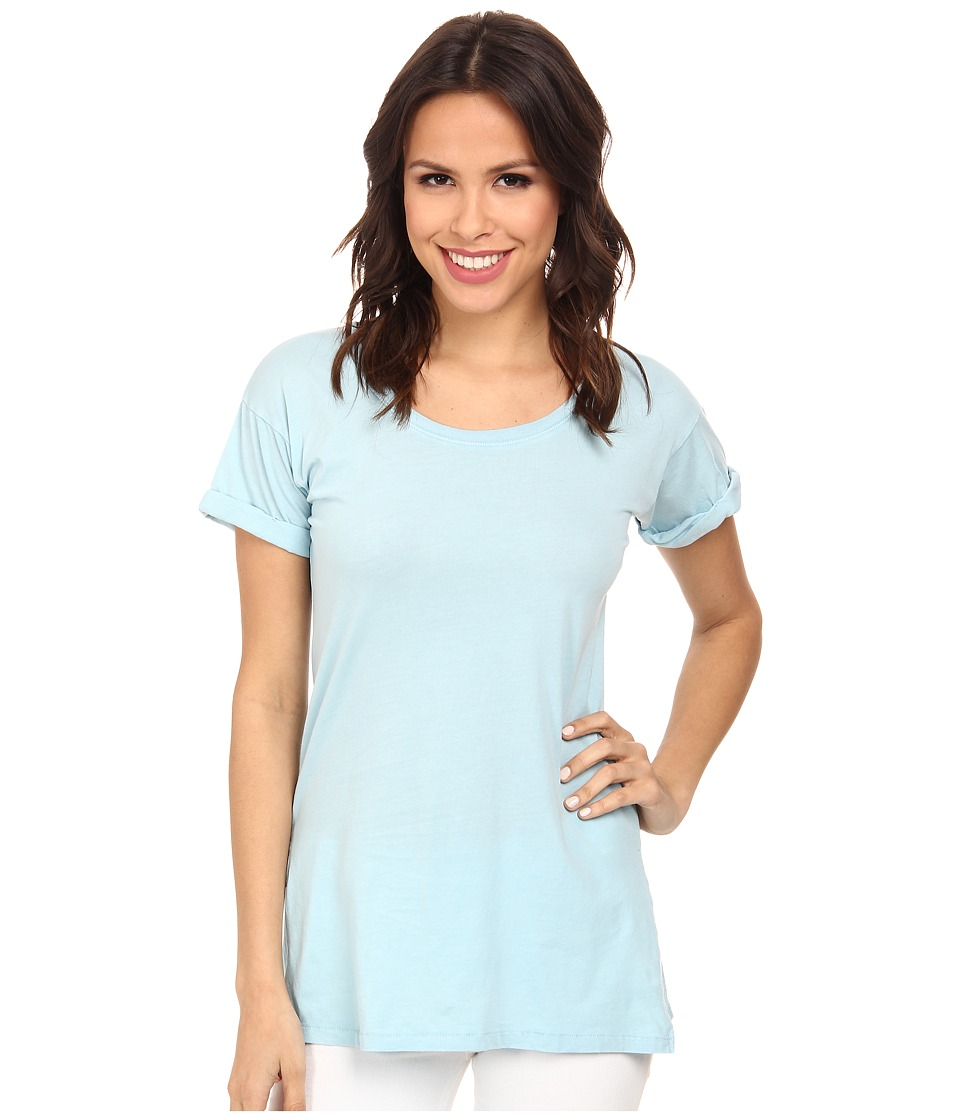 Mod-o-doc - Supreme Jersey Rolled Cuff Sleeve Scoop Neck Tee (Cool Sky) Women