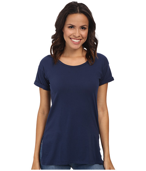 Mod-o-doc - Supreme Jersey Rolled Cuff Sleeve Scoop Neck Tee (New Navy) Women