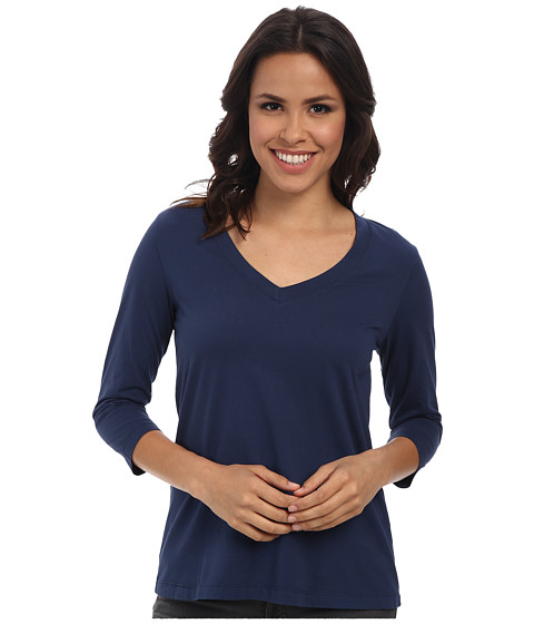 Mod-o-doc - 3/4 Sleeve V-Neck Tee (New Navy) Women