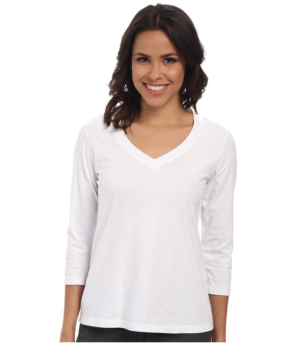 Mod-o-doc - 3/4 Sleeve V-Neck Tee (White) Women