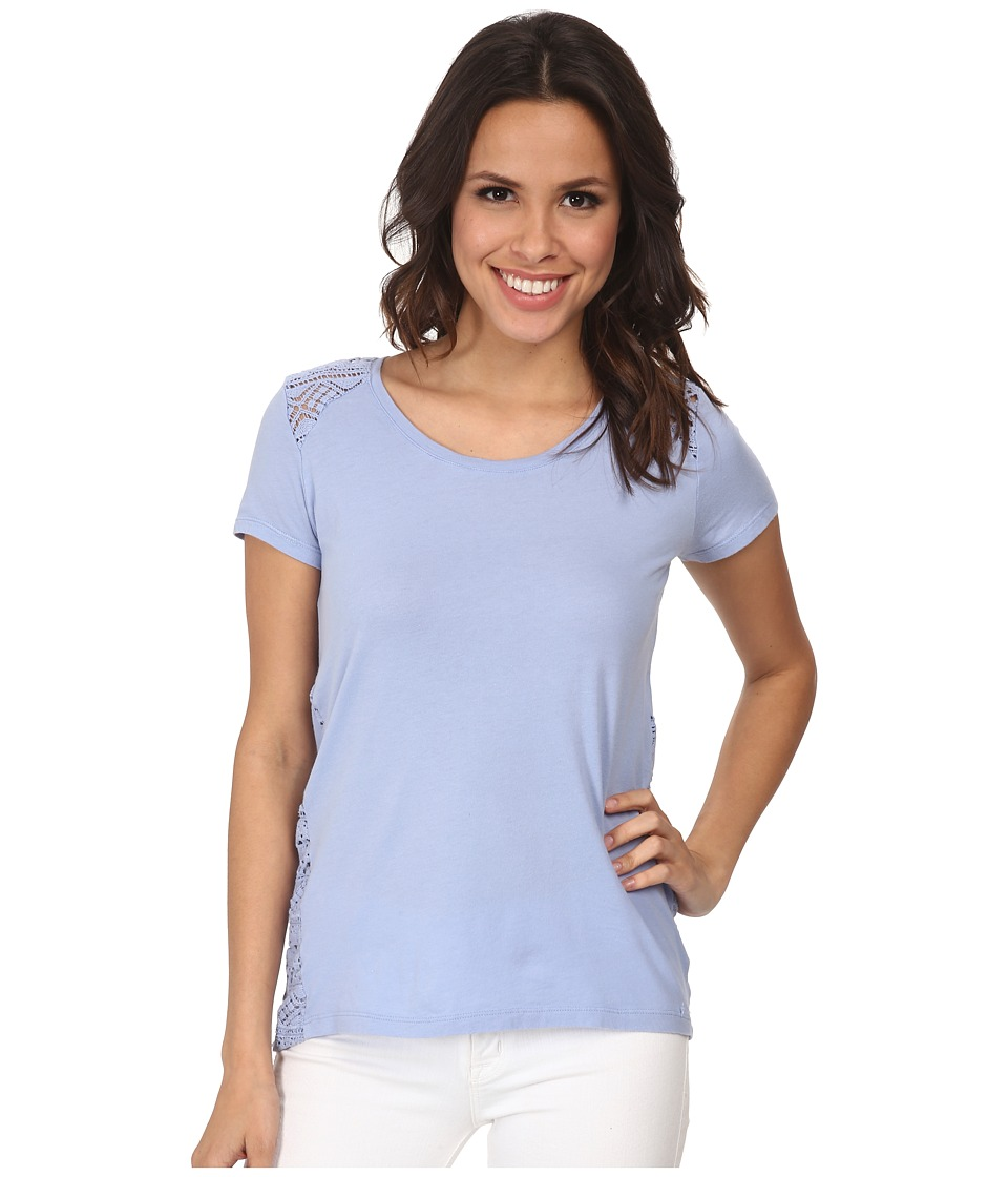 Mod-o-doc - Supreme Jersey Short Sleeve Mix Lace Tee (Larkspur) Women's T Shirt