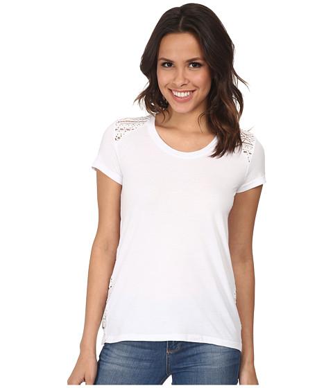 Mod-o-doc - Supreme Jersey Short Sleeve Mix Lace Tee (White) Women