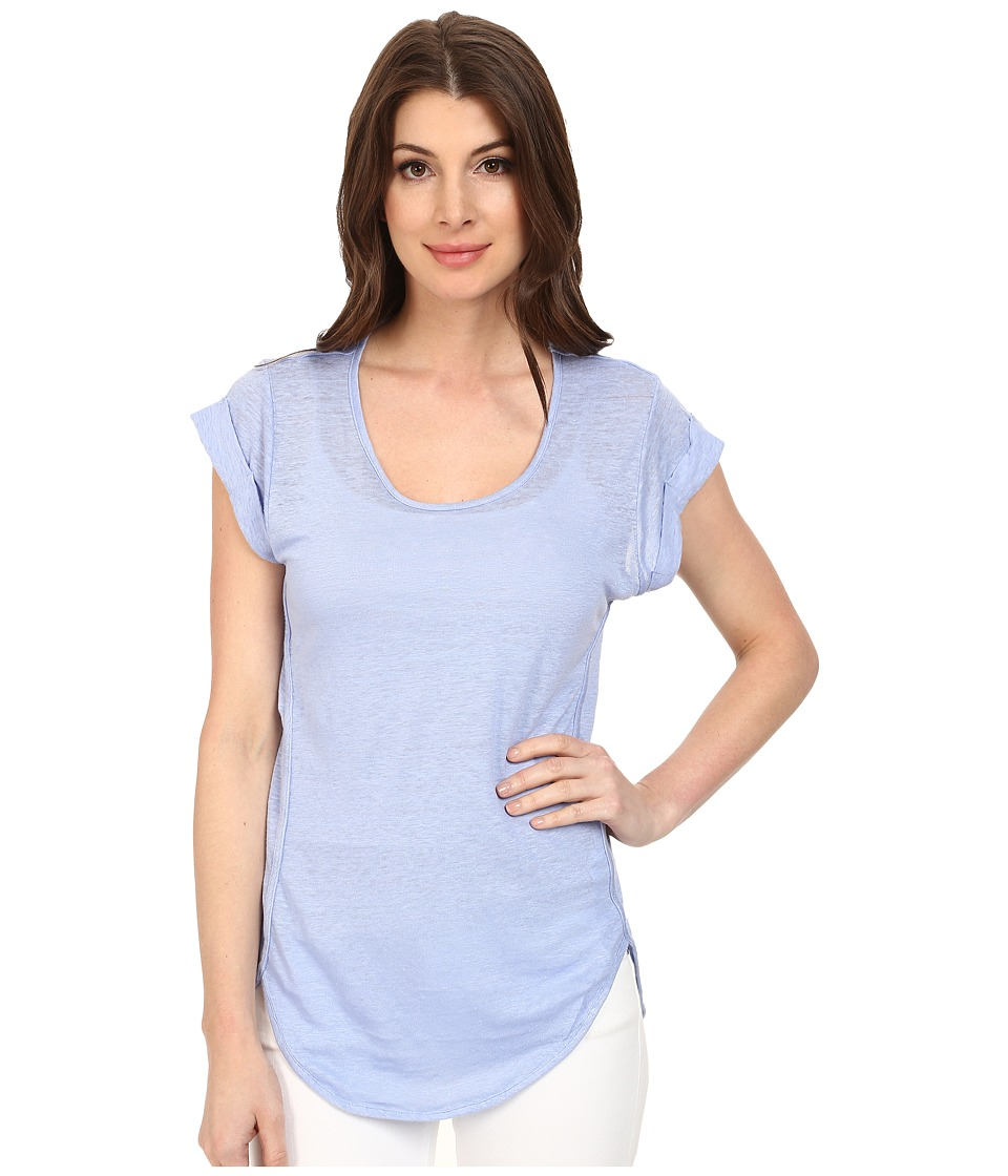 Mod-o-doc - Knit Linen Cap Sleeve Scoop Neck Tee (Larkspur) Women's T Shirt