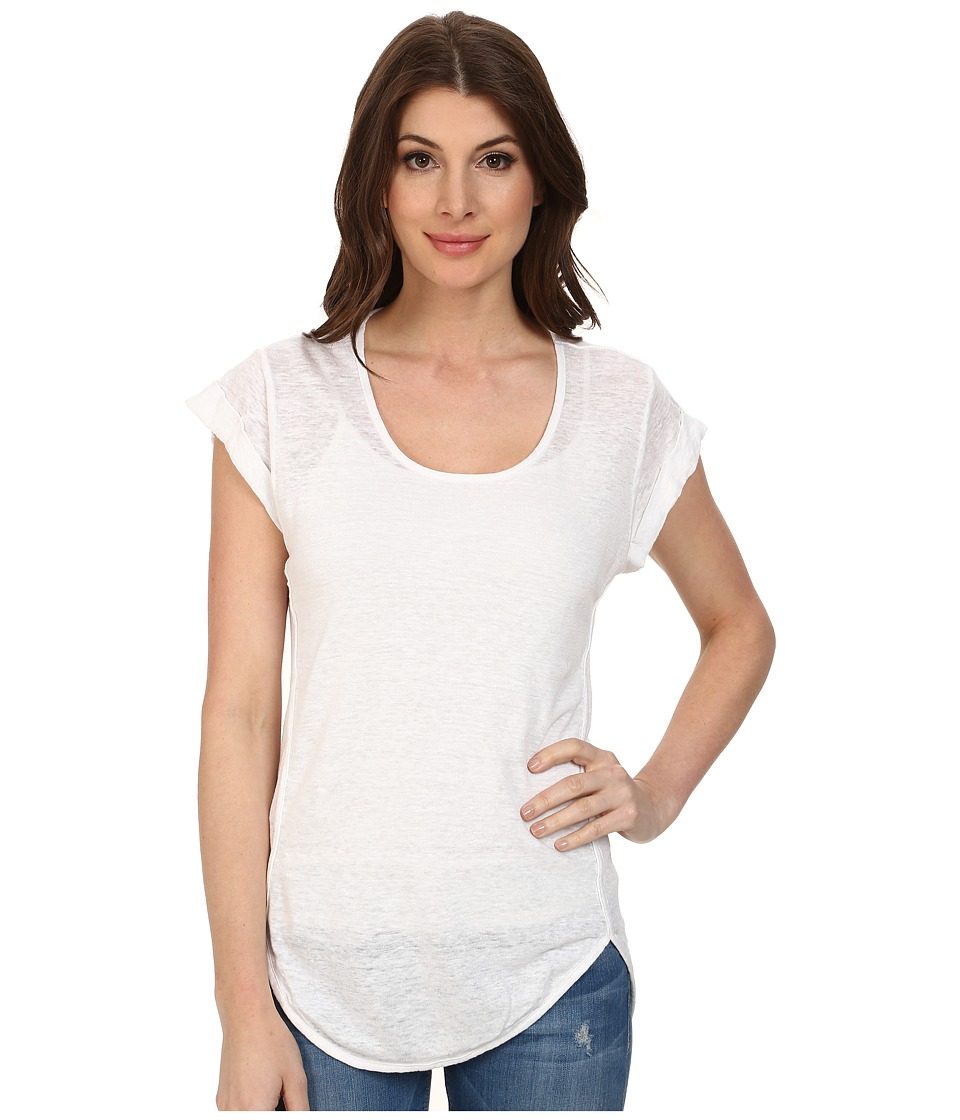 Mod-o-doc - Knit Linen Cap Sleeve Scoop Neck Tee (White) Women's T Shirt