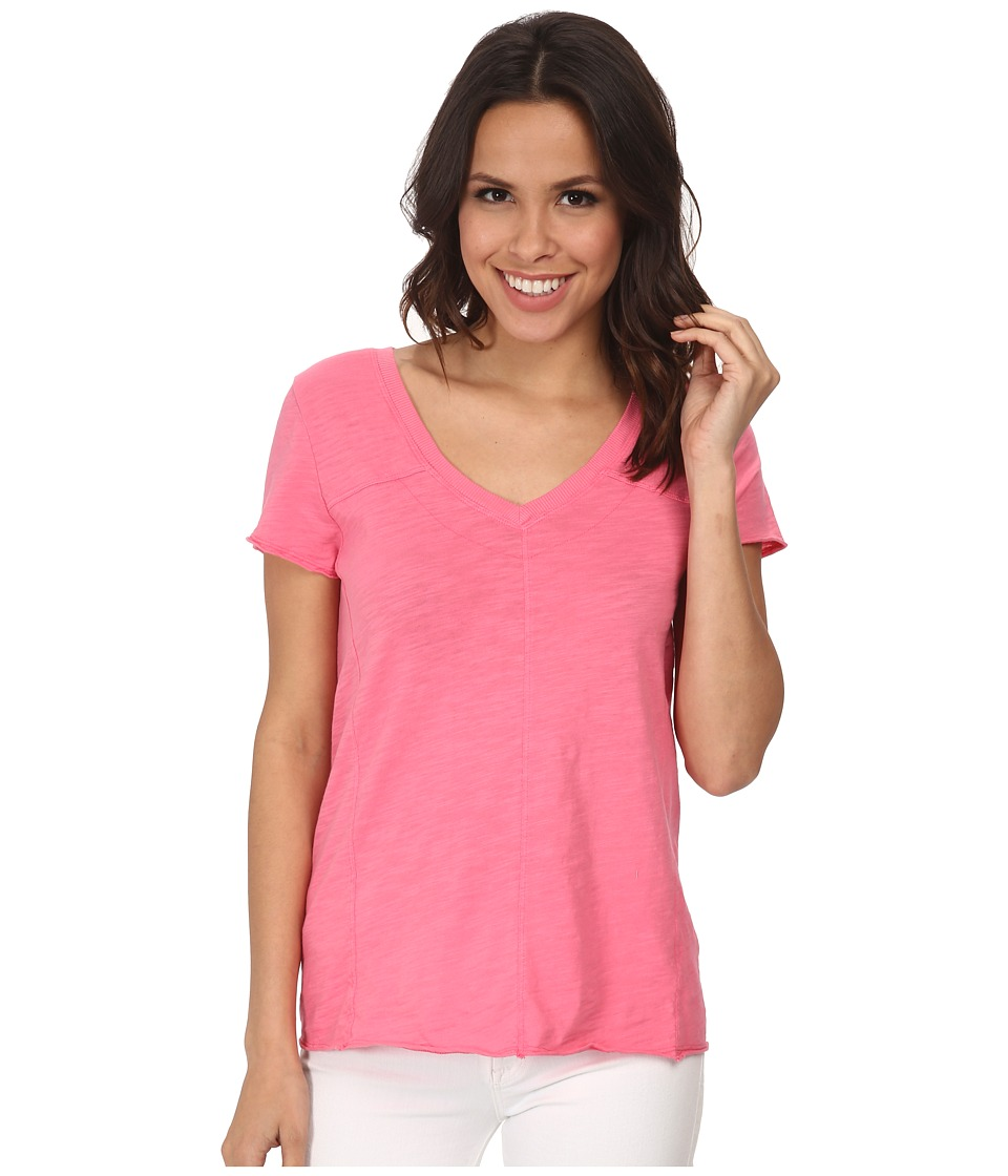 Mod-o-doc - Slub Jersey Short Sleeve Double V-Neck Tee (Gumdrop) Women's T Shirt