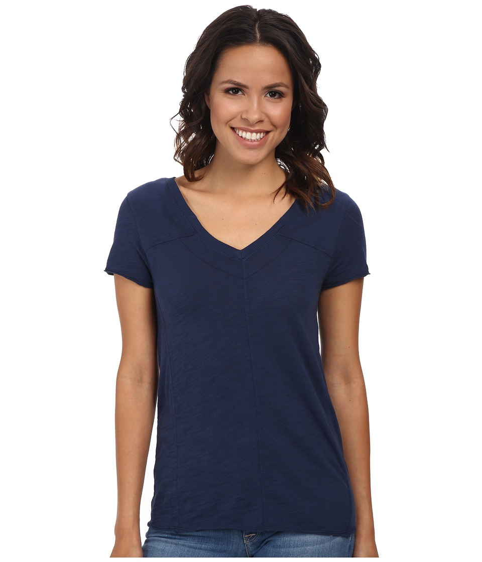 Mod-o-doc - Slub Jersey Short Sleeve Double V-Neck Tee (New Navy) Women's T Shirt