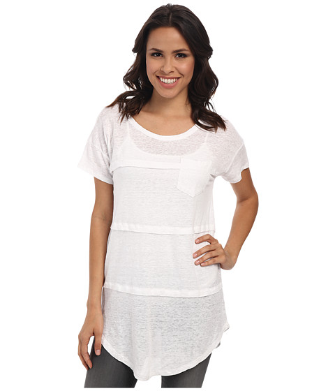 Mod-o-doc - Pleated Seam Short Sleeve Tee (White) Women's T Shirt