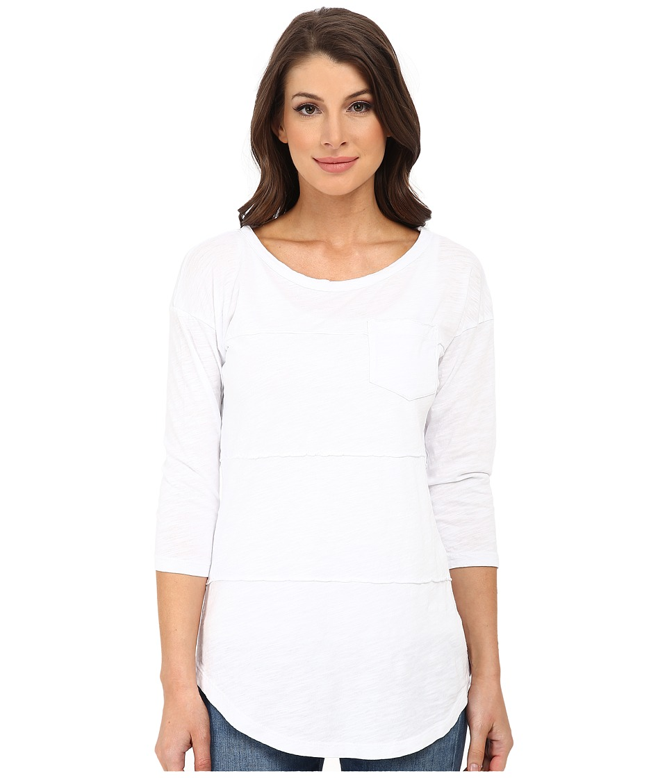 Mod-o-doc - Slub Jersey 3/4 Sleeve Raw Edge Seamed Tee (White) Women