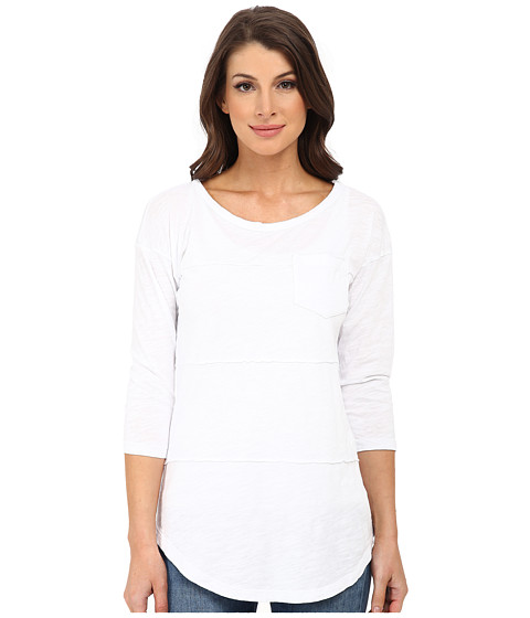 Mod-o-doc - Slub Jersey 3/4 Sleeve Raw Edge Seamed Tee (White) Women's T Shirt