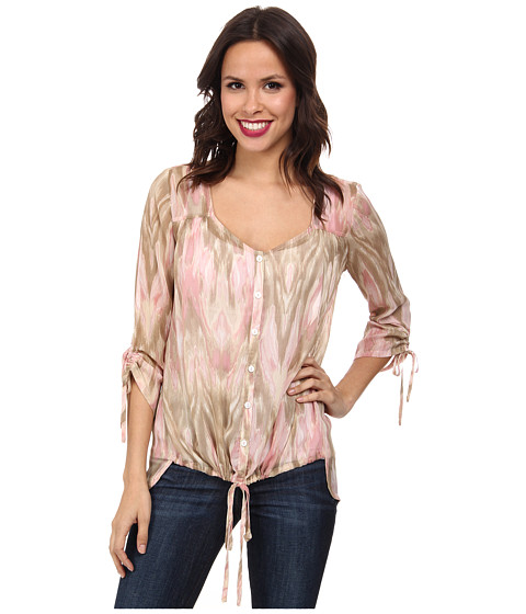 Miraclebody Jeans - Dora Tie Front Woven Blouse w/ Body-Shaping Inner Shell (Blush) Women