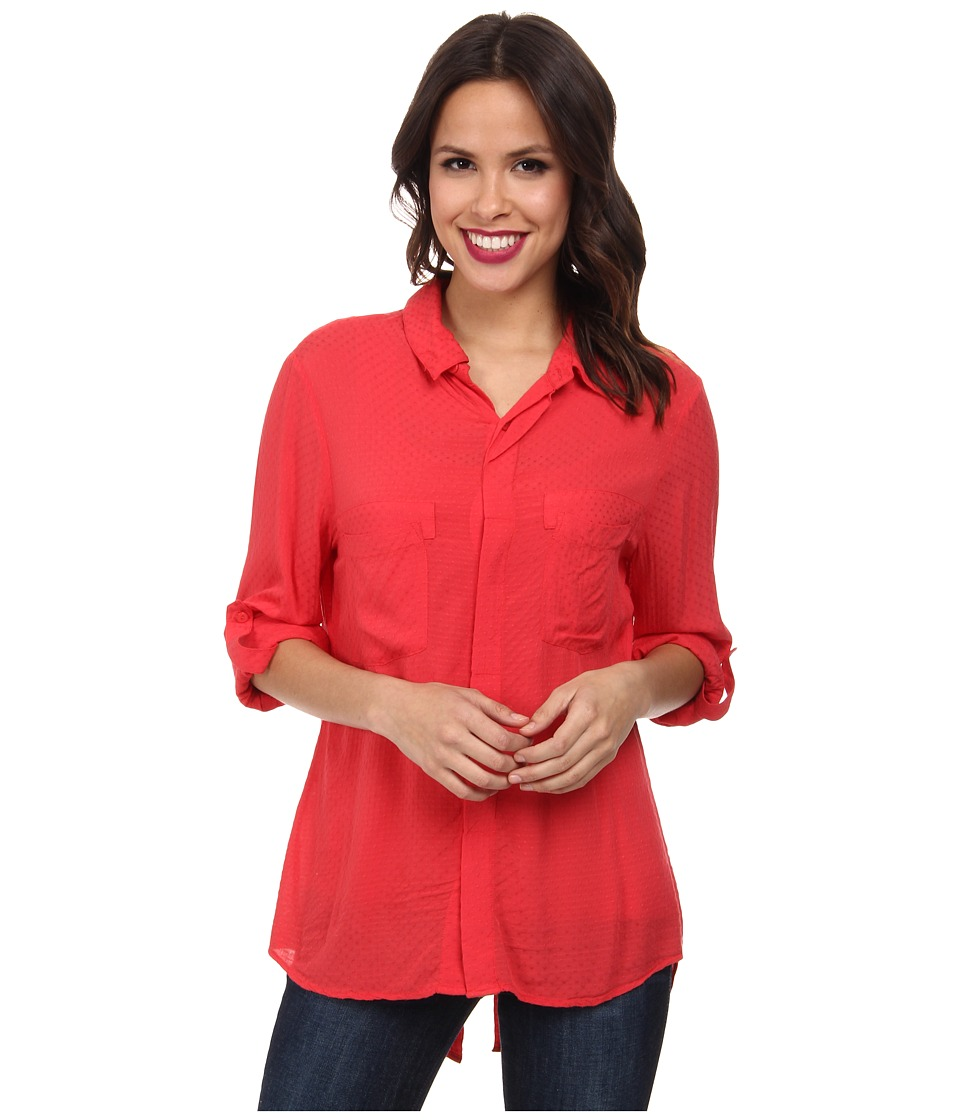 Miraclebody Jeans Christa Collared Blouse w/ Body-Shaping Inner Shell (Geranium) Women