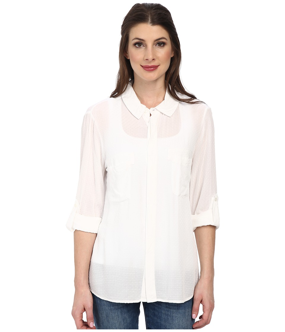 Miraclebody Jeans Christa Collared Blouse w/ Body-Shaping Inner Shell (White) Women