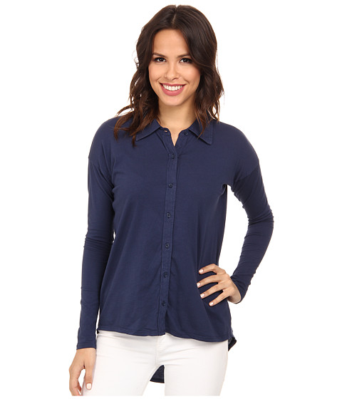 Mod-o-doc - Supreme Jersey Drop Shoulder Easy Button Front Shirt (New Navy) Women's Clothing