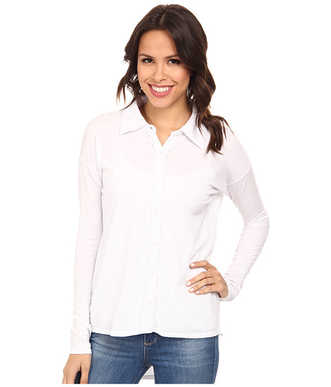 Mod-o-doc - Supreme Jersey Drop Shoulder Easy Button Front Shirt (White) Women's Clothing