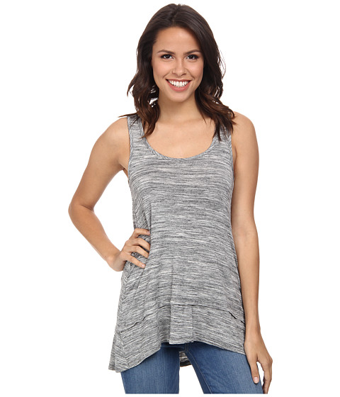 Mod-o-doc - Spaced Dyed Banded Tank Top (Charcoal Heather) Women's Sleeveless