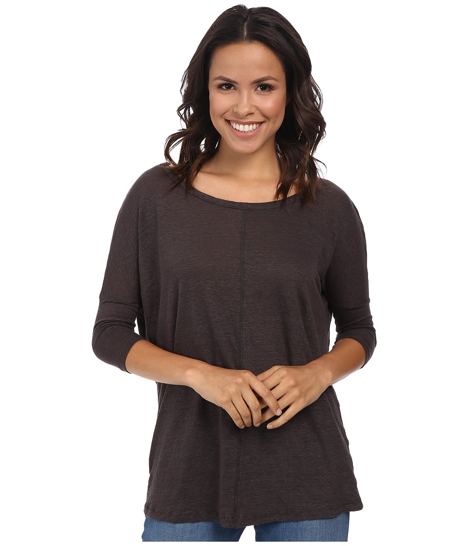 Mod-o-doc - Knit Linen Easy Seamed Scoop Neck Pullover (Cinder) Women's Clothing