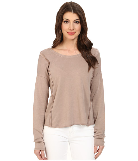 Mod-o-doc - French Terry Seamed Raw Edge Pullover (Flax) Women