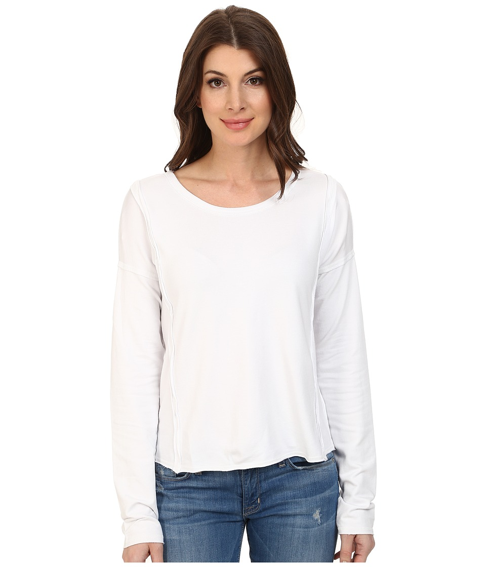 Mod-o-doc - French Terry Seamed Raw Edge Pullover (White) Women's Clothing