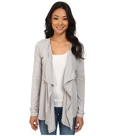 Mod-o-doc - Slub Jersey Draped Front Cardigan (Cloud) Women's Sweater