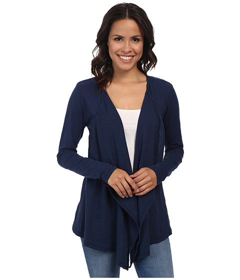 Mod-o-doc - Slub Jersey Draped Front Cardigan (New Navy) Women's Sweater