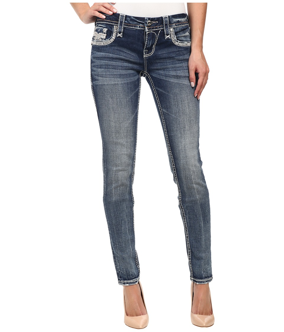 Rock Revival - Jen S205 Skinny in Medium Indigo (Medium Indigo) Women's Clothing