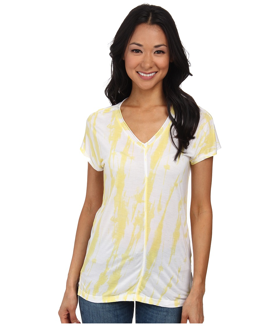 Calvin Klein Jeans - Extended Sleeve Printed V-Neck Tee (Lemongrass) Women's Short Sleeve Pullover