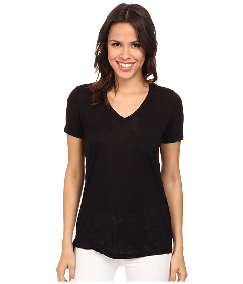 Calvin Klein Jeans - S/S V-Neck Slub Tee (Black) Women