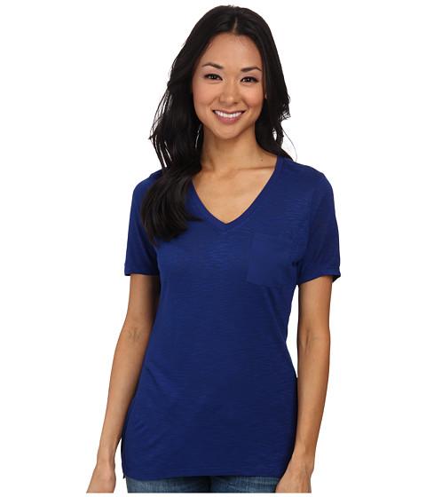 Calvin Klein Jeans - S/S V-Neck Slub Tee (Deep Cobalt) Women's T Shirt