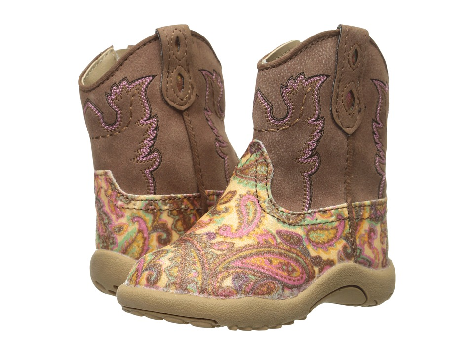Roper Kids - Faux Leather Paisley Glitter Print (Infant/Toddler) (Brown) Cowboy Boots
