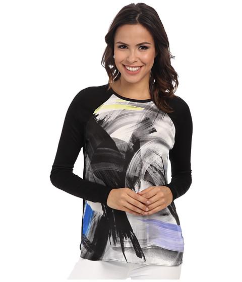 Calvin Klein Jeans - L/S Print Blocked Woven Tee (Black) Women's T Shirt
