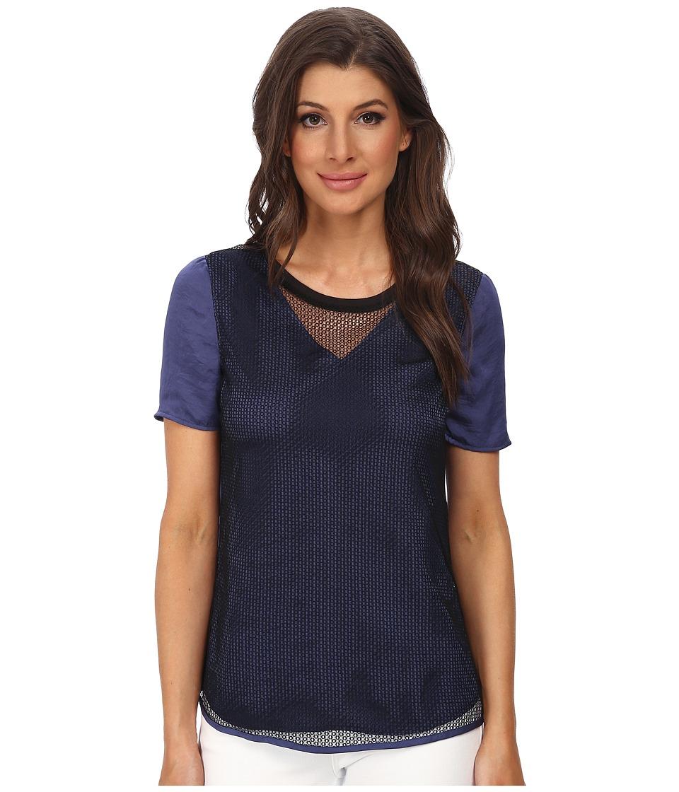 Calvin Klein Jeans - Mesh Combo Tee (Deep Cobalt) Women