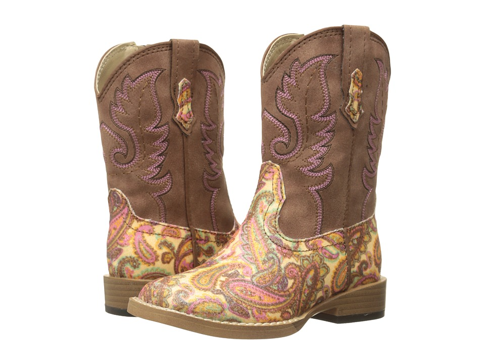 Roper Kids - Faux Leather Paisley Glitter Print (Toddler) (Brown) Cowboy Boots