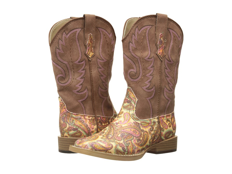 Roper Kids Faux Leather Paisley Glitter Print (Toddler/Little Kid) (Brown) Cowboy Boots