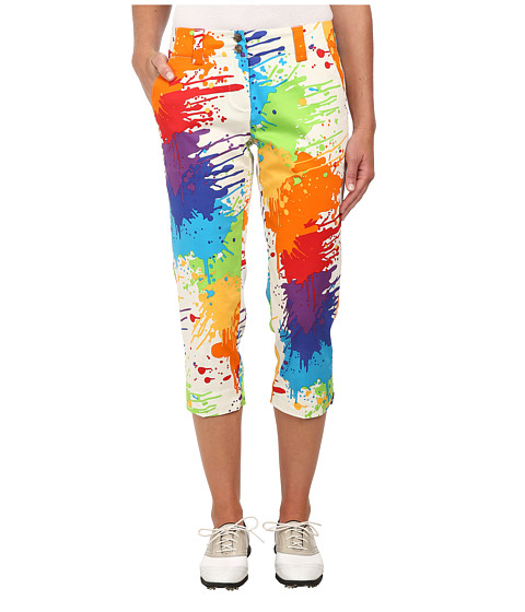 Loudmouth Golf - Drop Cloth Golf Capri (White Multi) Women's Capri
