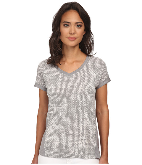 Calvin Klein Jeans - V-Neck Roll Up Sleeve Printed Top (Urban Grey) Women's Short Sleeve Knit
