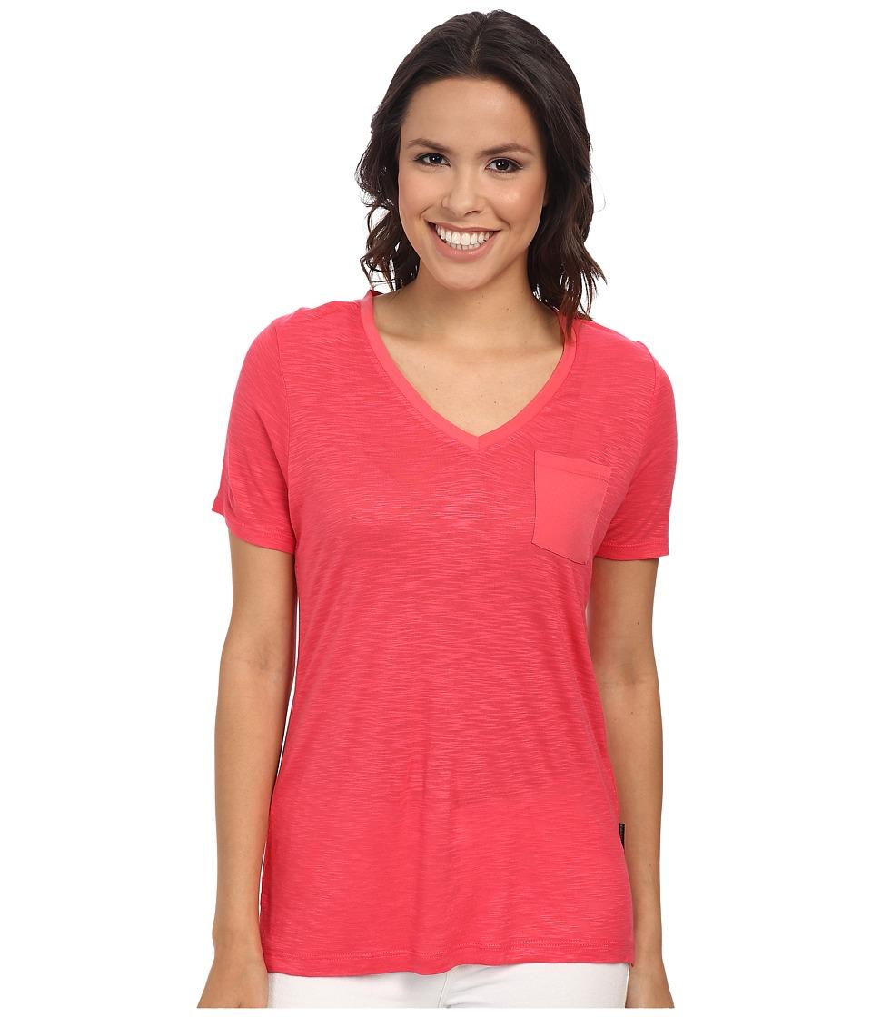 Calvin Klein Jeans - S/S V-Neck Slub Tee (Coral Flower) Women's T Shirt