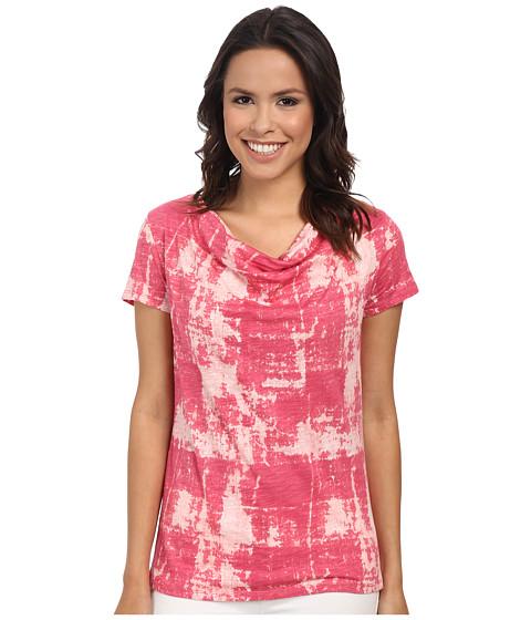 Calvin Klein Jeans - S/S Cowl Neck Stripe Tee (Coral Flower) Women's T Shirt