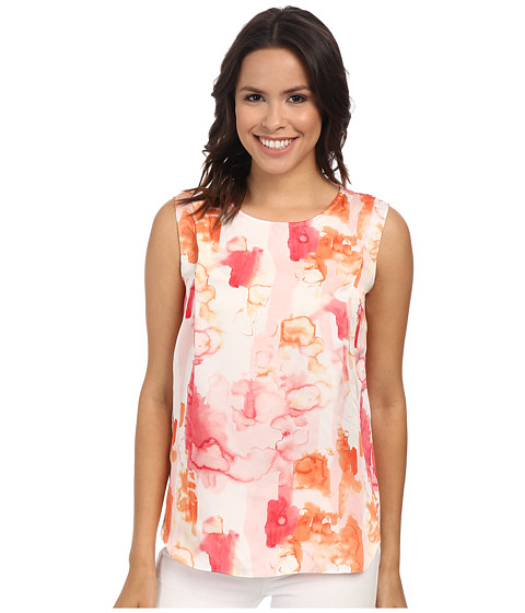 Calvin Klein Jeans - Printed Pleat Tank Top (Coral Flower) Women