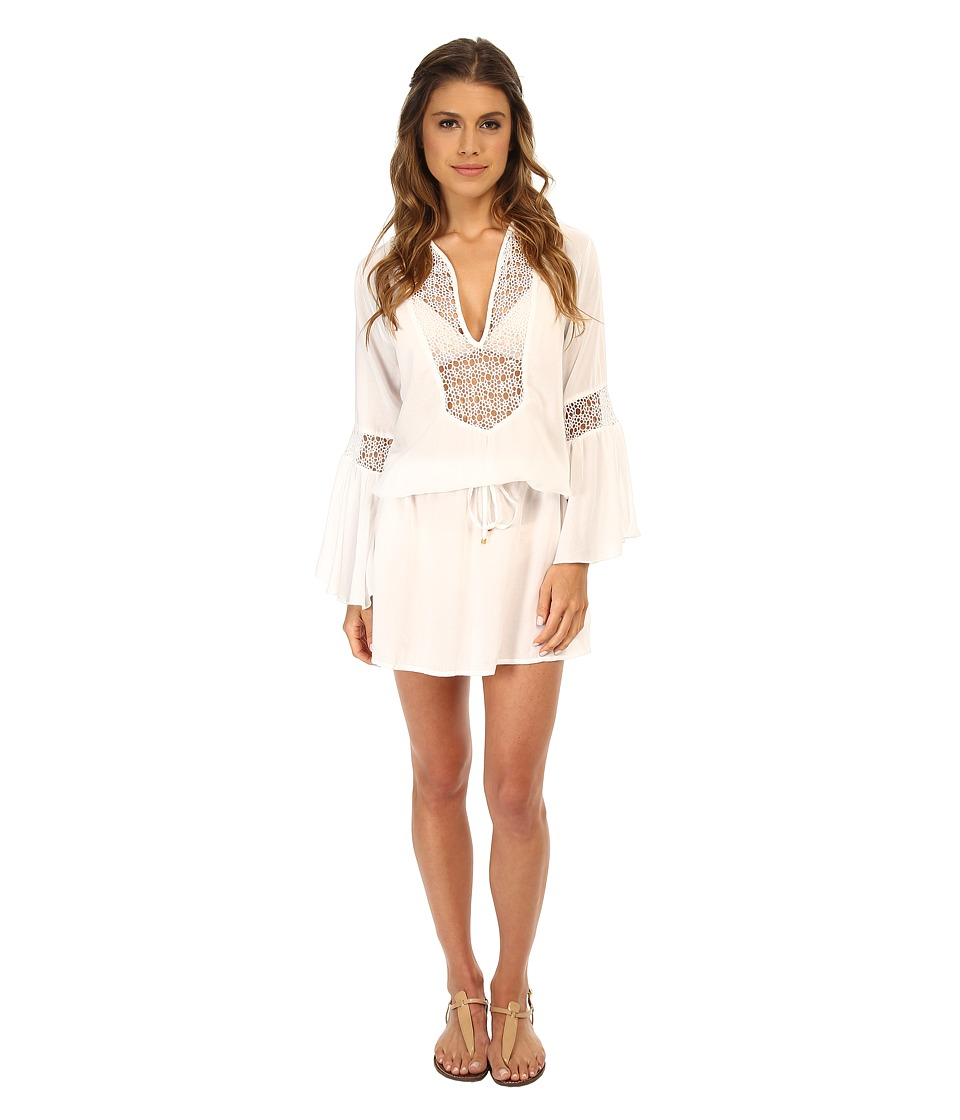 Vix - Solid White Bella Tunic Cover-Up (White) Women's Swimwear