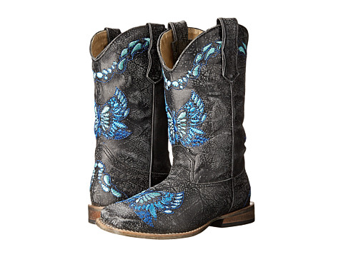 Roper Kids - Sanded Leather w/ Butterfly Embroidery (Toddler/Little Kid) (Black) Cowboy Boots