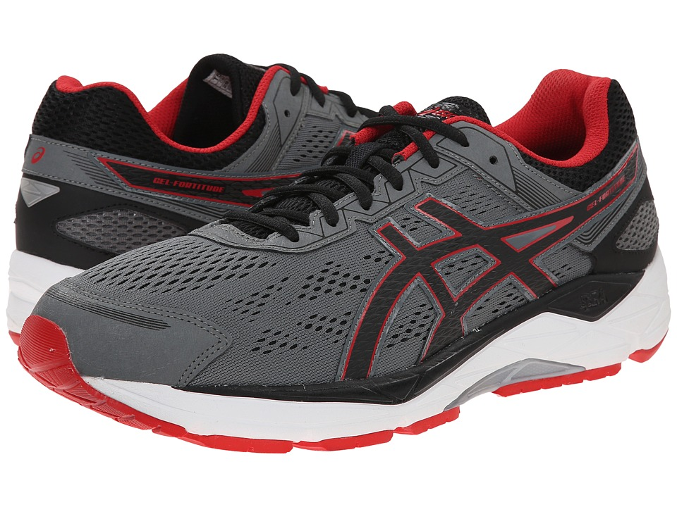ASICS - Gel-Fortitude 7 (Mix Grey/Black/Red) Men's Running Shoes
