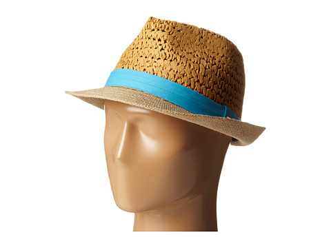 Steve Madden - Two Weave Banded Fedora (Turquoise) Fedora Hats