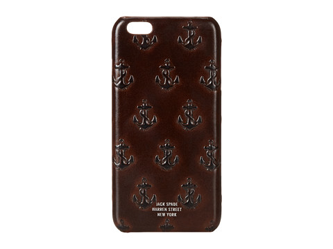 Jack Spade - Embossed Anchor Case for iPhone 6 Plus (Chocolate) Cell Phone Case