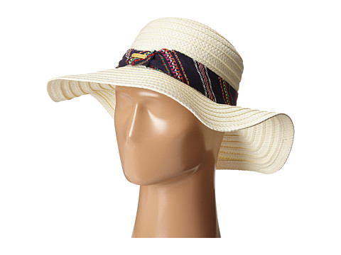 Steve Madden - Freyed Fabric Band Panama Hat (Ivory) Traditional Hats